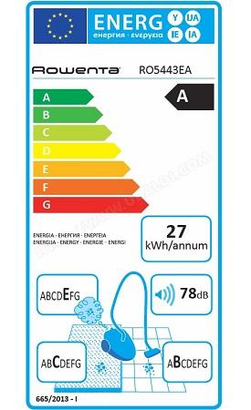 Aspirateur Rowenta - RO5443EA X-Trem Power - Etiquette Energetique