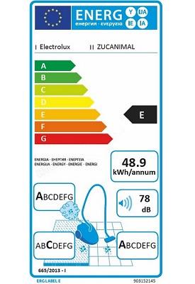 Aspirateur Electrolux - UltraCaptic ZUCANIMAL - Etiquette Energetique