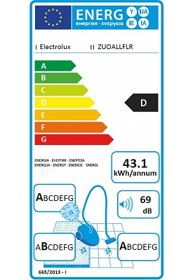 Aspirateur Electrolux - UltraOne ZUOALLFLR - Etiquette Energetique