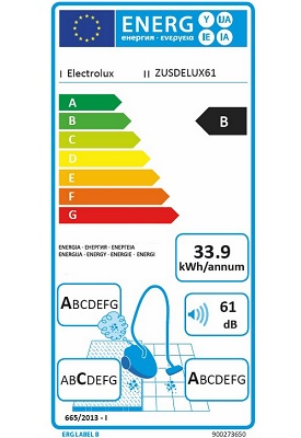 Aspirateur Electrolux - UltraSilencer ZUSDELUX61 - Etiquette Enérgetique