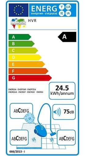 Aspirateur Numatic - Henry HVR200-A2 - Etiquette Energetique