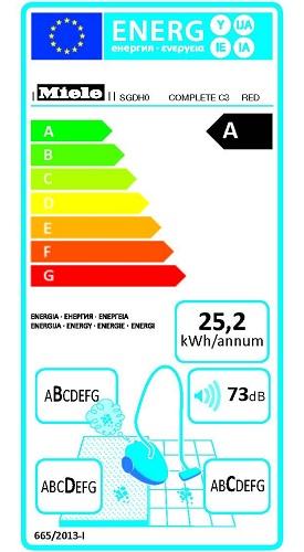 Aspirateur Miele - Complete C3 Red - Etiquette Energetique