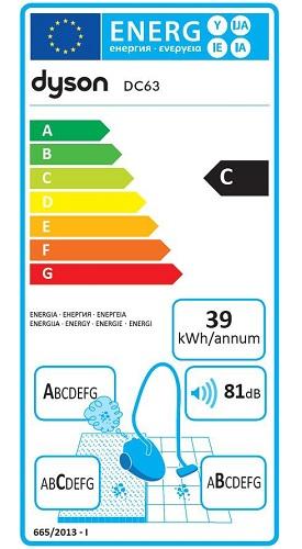 Aspirateur Dyson - DC63 Allergy - Etiquette Energétique