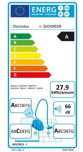 Aspirateur Electrolux - UltraOne ZUOGREEN - Etiquette Energetique