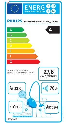 Aspirateur Philips - PerformerPro FC9197 - Etiquette Energetique