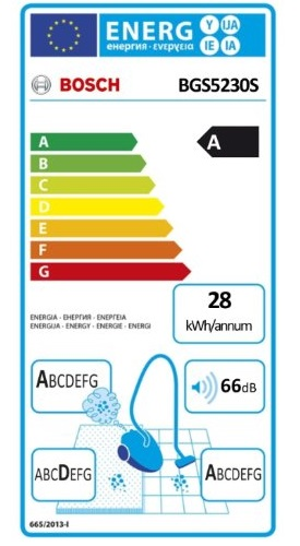 Aspirateur Bosch - BSG5230S - Etiquette Energetique