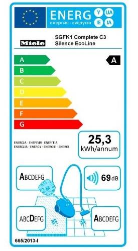 Aspirateur Miele - Complete C3 Silence Ecoline - Etiquette Energétique