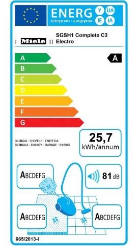 Aspirateur Miele - Complete C3 Electro Ecoline - Etiquette Energétique