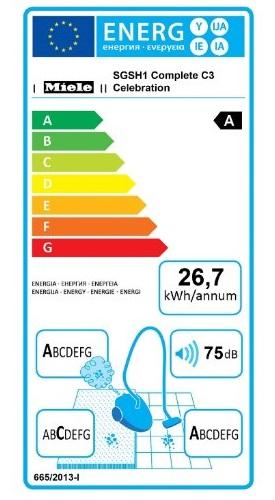 Aspirateur Miele - Complete C3 Celebration Ecoline Plus - Etiquette Energétique
