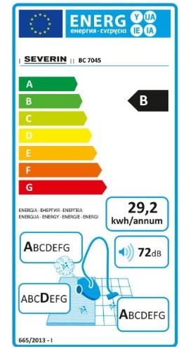 Aspirateur Severin - SPower Snowwhite BC7045 - Etiquette Energetique