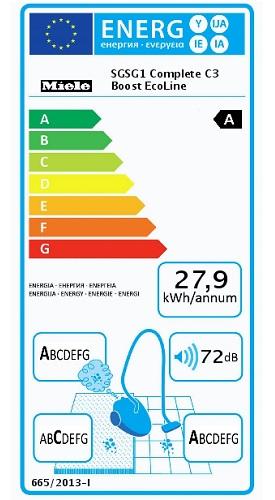 Aspirateur Miele - Complete C3 Boost EcoLine - Etiquette Energetique