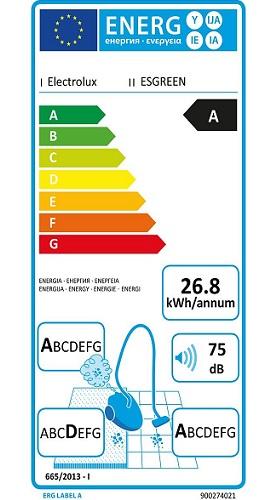 Aspirateur Electrolux - ErgoSpace ESGREEN - Etiquette Energétique