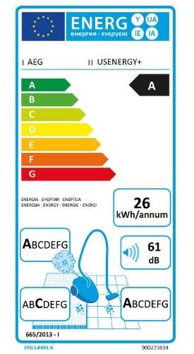 Aspirateur Electrolux - AEG - UltraSilencer USENERGY - Etiquette Energétique