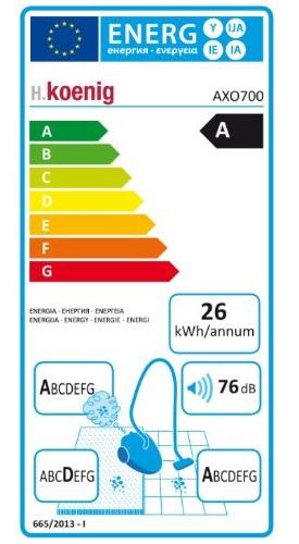 Aspirateur H.Koenig - AXO700 - Etiquette Energétique