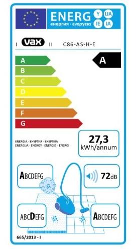 Aspirateur Vax - Air Silence C86-AS-H-E - Etiquette Energétique