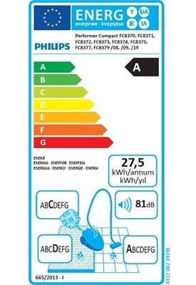 Aspirateur Philips - Performer Compact FC8373 - Etiquette Energétique