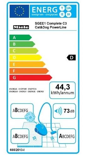 Aspirateur Miele - Complete C3 Cat&Dog PowerLine - Etiquette Energetique