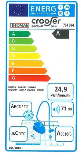 Aspirateur Thomas - Crooser Parquet Plus - Etiquette Energétique