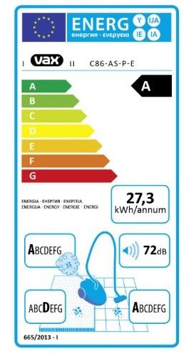 Aspirateur Vax - Air Silence Pet C86-AS-P-E - Etiquette Energétique