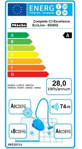 Aspirateur Miele - Complete C3 Excellence EcoLine - Etiquette Energétique
