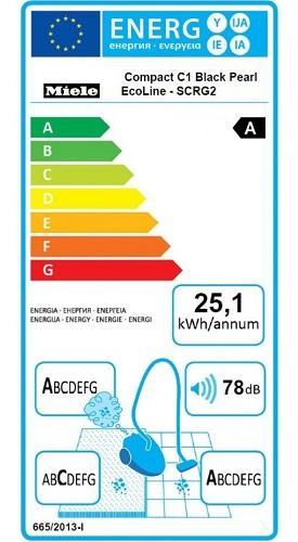 Aspirateur Miele - Compact C1 Black Pearl EcoLine - Etiquette Energétique