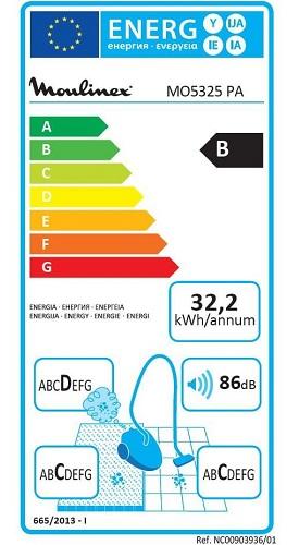 Aspirateur Moulinex - Compacteo Ergo Cyclonic MO5325PA - Etiquette Energétique