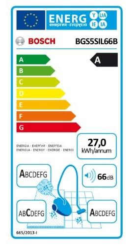 Aspirateur Bosch - BGS5SIL66B - Etiquette Energétique