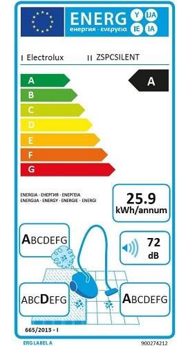 Aspirateur Electrolux - Silent Performer Cylonic ZSPCSILENT - Etiquette Energétique