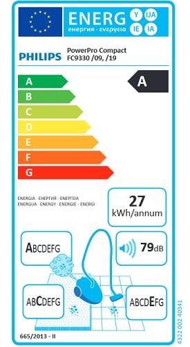 Aspirateur Philips - Performer Compact FC9330 - Etiquette Energétique