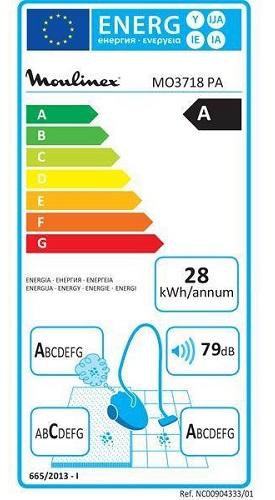 Aspirateur Moulinex - Compact Power Cyclonic MO3718PA - Etiquette Energétique