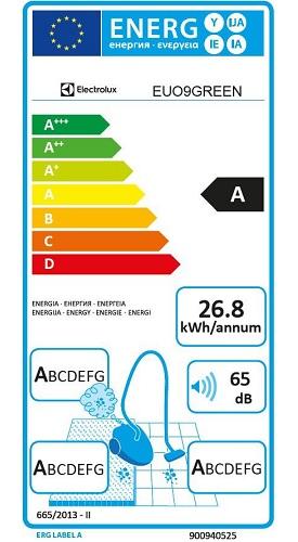 Aspirateur Electrolux - UltraOne EUO9GREEN - Etiquette Energétique