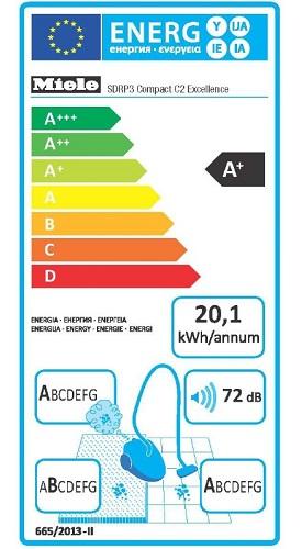 Aspirateur Miele - Compact C2 Excellence EcoLine - Etiquette Energétique