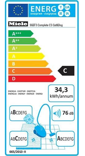 Aspirateur Miele - Complete C3 Cat&Dog PowerLine - Etiquette Energétique