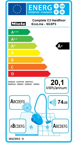 Aspirateur Miele - Hardfloor Ecoline - Etiquette Energétique