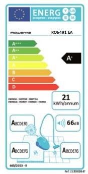 Aspirateur Rowenta - Silence Force 4A+ RO6491EA - Etiquette Energétique