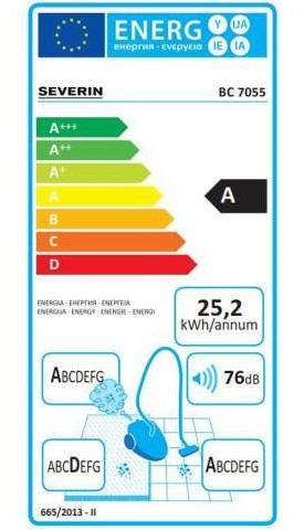 Aspirateur Severin - S'Power SnowwhiteXL 7055 - Etiquette Energétique