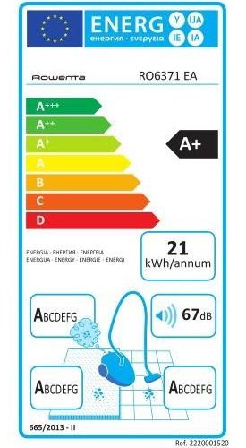 Aspirateur Rowenta - Silence Force Compact 4A+ RO6371EA - Etiquette Energétique