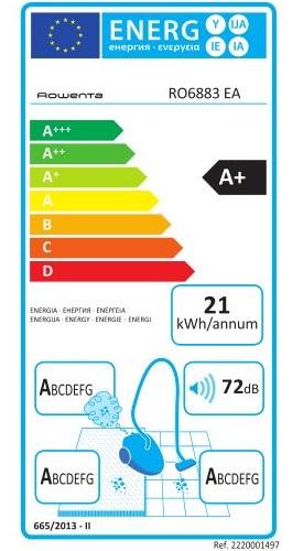 Aspirateur Rowenta - X-Trem Power 4A RO6883EA - Etiquette Energétique