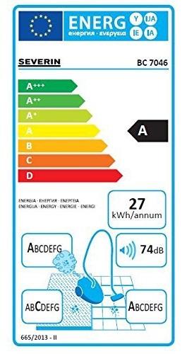 Aspirateur Severin - SPower Snowwhite Deluxe 7046 - Etiquette Energétique
