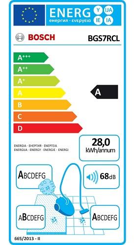 Aspirateur Bosch - Relaxx'x Ultimate BGS7RCL - Etiquette Energétique