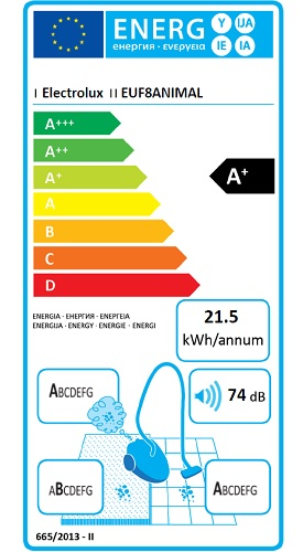 Aspirateur Electrolux - UltraFlex EUF8ANIMAL - Etiquette Energétique