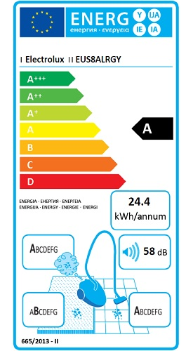 Aspirateur Electrolux - UltraSilencer EUS8ALRGY - Etiquette Energétique