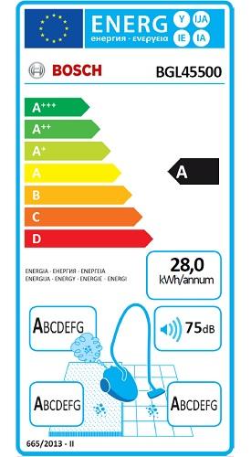 Aspirateur Bosch - BGL45500 - Etiquette Energétique