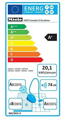 Aspirateur Miele - Complete C3 Excellence EcoLine SGSP3 - Etiquette Energétique