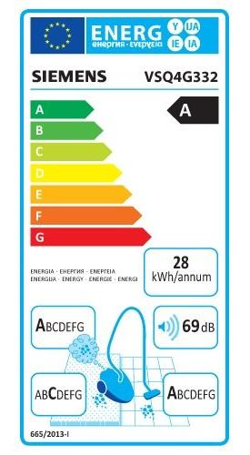 Aspirateur Siemens - VSQ4G332 - Etiquette Energétique