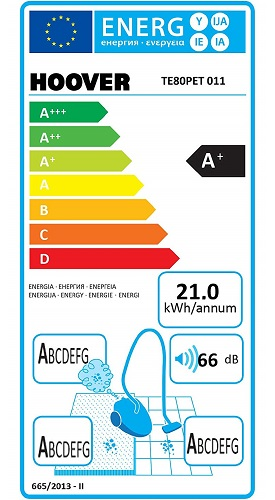 Aspirateur Hoover - Telios Plus TE80PET - Etiquette Energétique