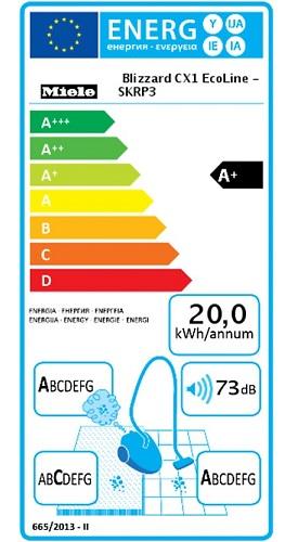 Aspirateur Miele - Blizzard CX1 EcoLine - Etiquette Energétique