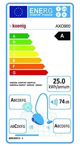 Aspirateur H.Koenig - AXO900 - Etiquette Energétique