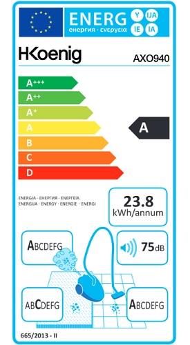 Aspirateur H.Koenig - AXO940 - Etiquette Energétique