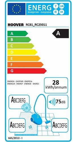Aspirateur Hoover - Reactiv RC81 - Etiquette Energétique